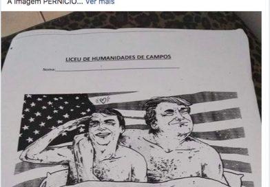 Charge com Bolsonaro e Trump na cama causa afastamento de professor em Campos